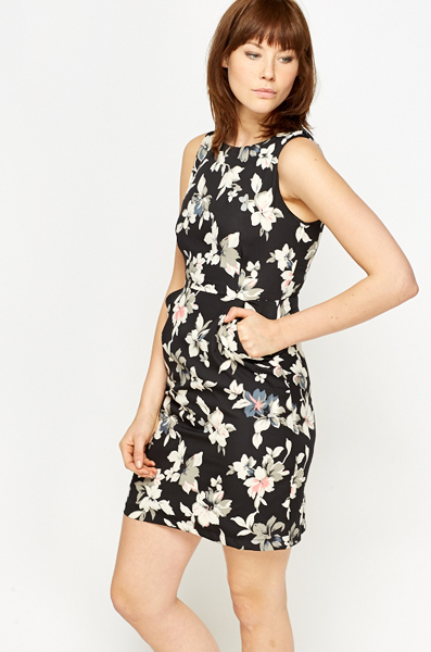 Black Floral High Waisted Dress