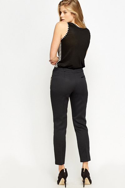 Black Textured Straight Leg Trousers
