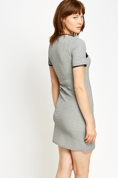Contrast Textured Bodycon Dress