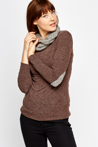 Cowl Neck Contrast Elbow Top