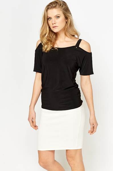 Cut Out Sleeves Black Top