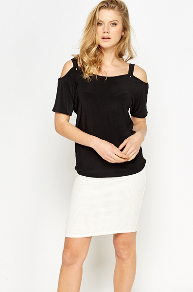 3e1221e633 Cut Out Sleeves Black Top - Just £5