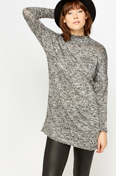 High Neck Speckled Shift Dress