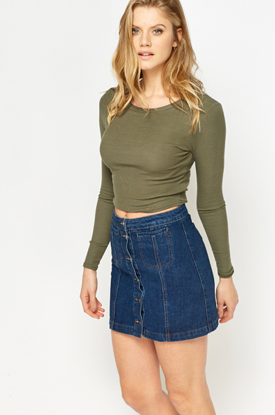 Olive Long Sleeves Crop Top