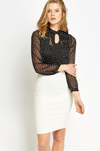 Pleated Polka Dot Blouse