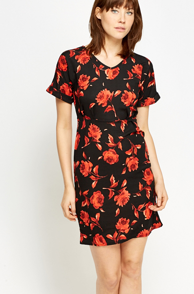 Pleated Waist Rose Print Dress Just 163 5