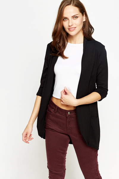 Black Lapel Black Cardigan