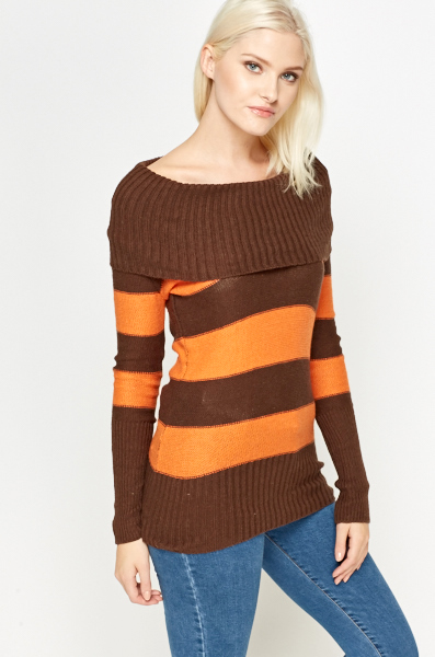 Brown Contrast Striped Jumper