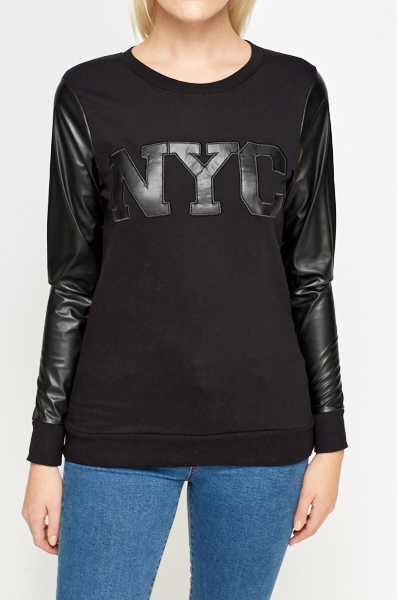 Contrast Sleeve NYC Sweater