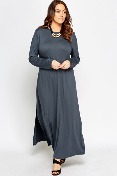 Deep Teal Maxi Split Hem Top