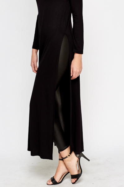 High Neck Slit Hem Long Top