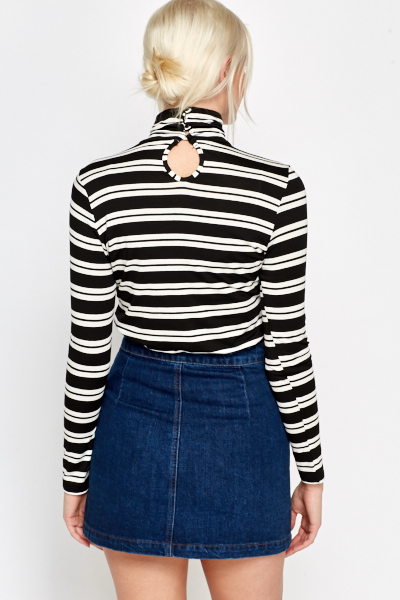 High Neck Striped Knit Top