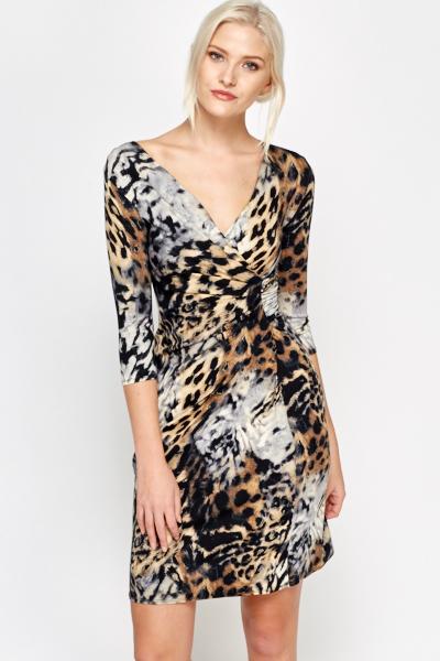 7b9d0fc79a Leopard Print Wrap Dress - Just £5