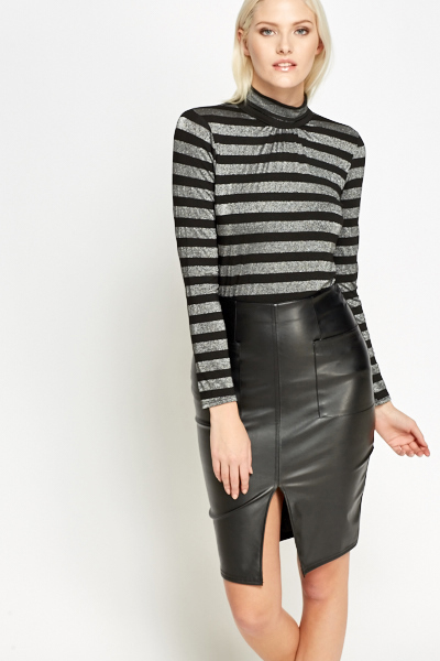 Metallic Striped High Neck Top