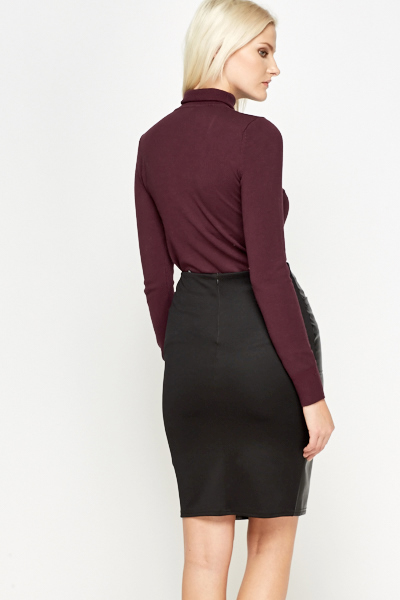 Plum Roll Neck Knit Top
