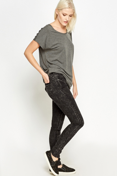 Skinny Black Faded Jeans