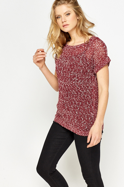 Speckled Keyhole Back Knit Top