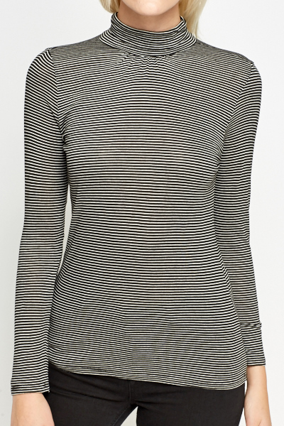 Thin Striped High Neck Top