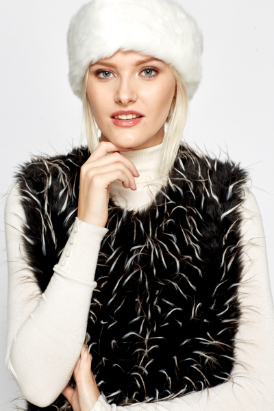 White Faux Fur Headband