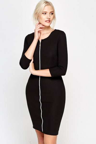 Zip Front Textured Bodycon Dress