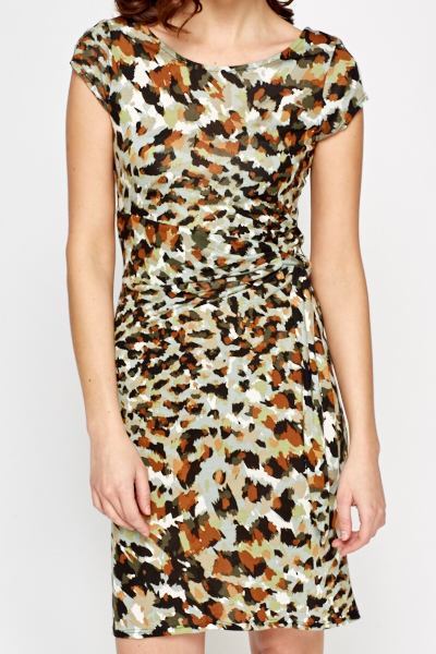 Brush Print Tie Up Dress