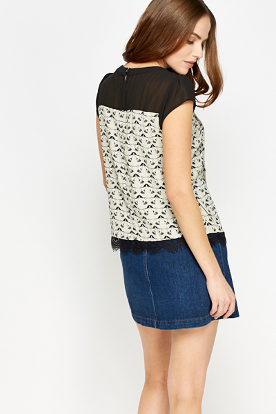 Contrast Pleated Bird Print Top