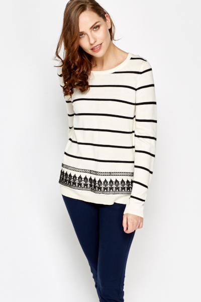 Embroidered Border Striped Jumper