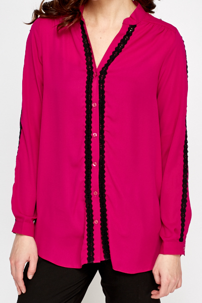 Fuchsia Lace Trim Blouse
