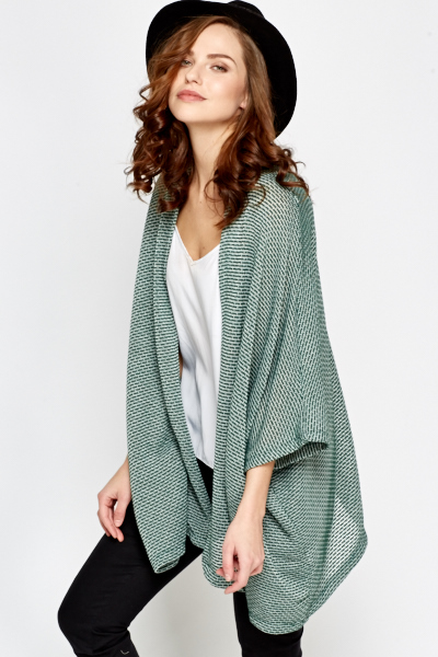 Green Open Cardigan