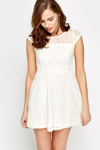 8283849c6fd8 Lace Overlay White Skater Dress - Just £5