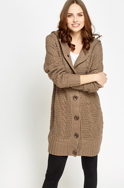 Light Brown Knit Chunky Cardigan