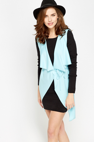 Light Weight Sleeveless Waterfall Cardigan