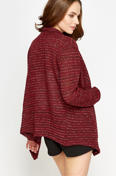 Loose Knit Open Waterfall Cardigan
