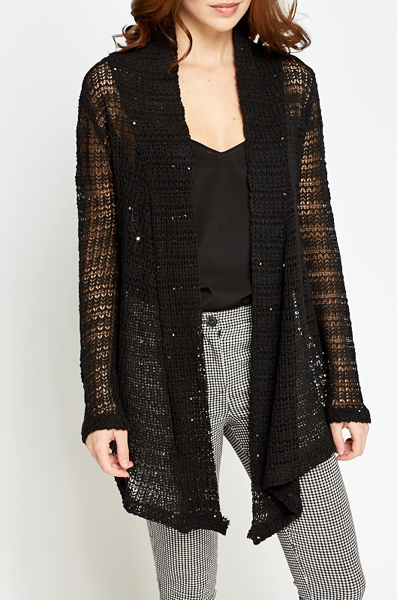 Loose Knit Sequin Cardigan