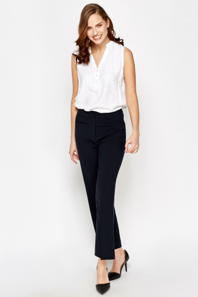 Navy Straight Leg Formal Trousers