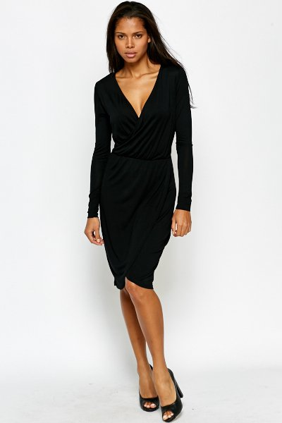 Plunge Neck Black Wrap Dress