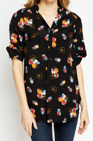 Black Floral Casual Blouse