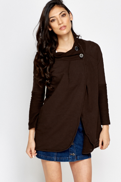 Button Neck Coffee Cardigan