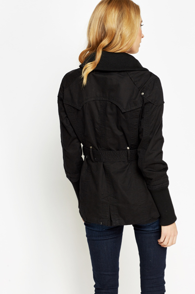 Cotton Belted Zip Up Jacket