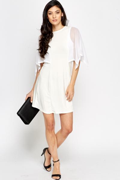 Flared Sheer Sleeves Dress