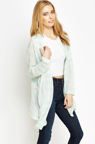 Loose Striped Asymmetric Cardigan