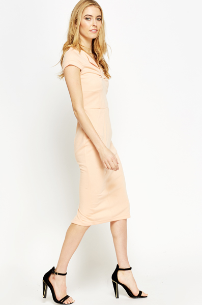 Ruched Neck Midi Dress