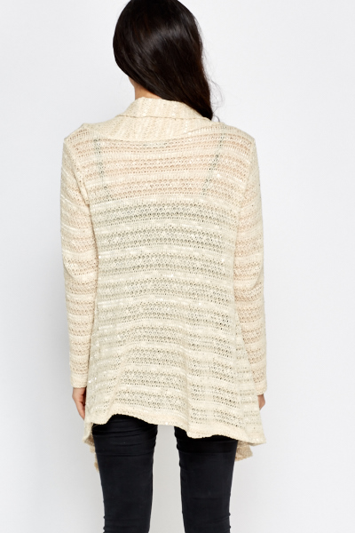 Sequin Striped Open Cardigan