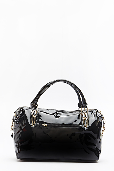 Black PVC Bowler Bag