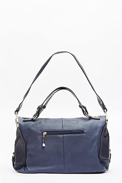 Blue Faux Leather Bowler Bag - Just £5 907a4ab3d1f30