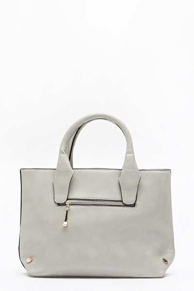 Grey Faux Leather Handbag