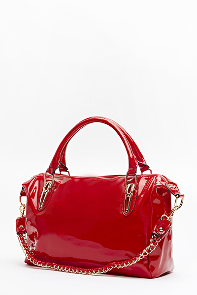 Red PVC Bowler Bag