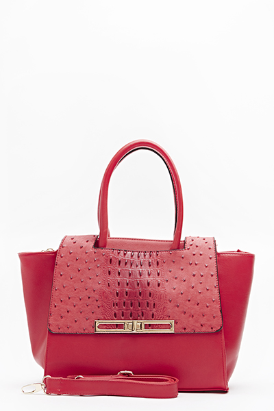 Red Textured Handbag