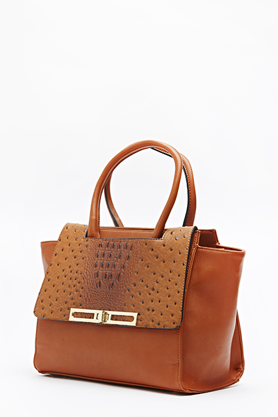 Taupe Textured Handbag