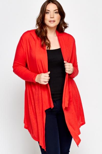 Asymmetric Red Cardigan - Just £5